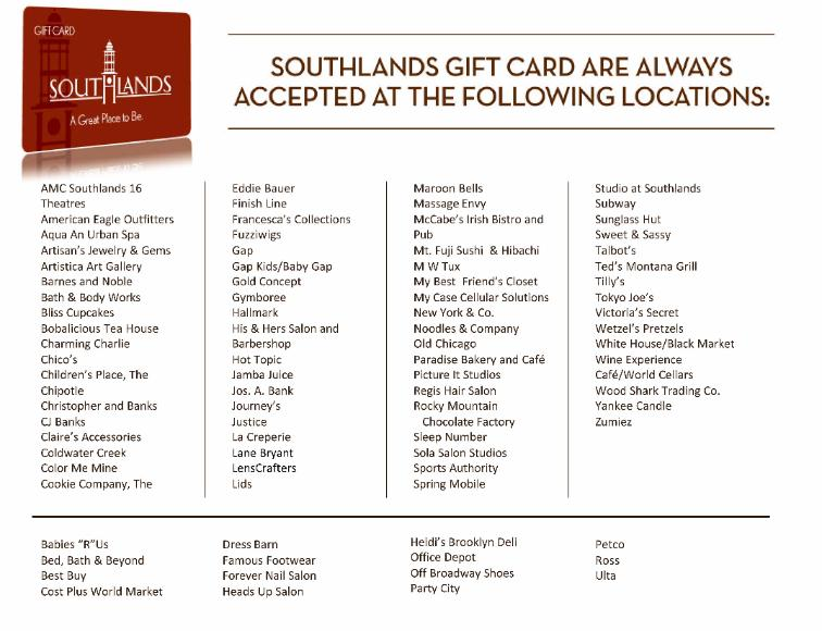 Participating Southlands Mall Gift Card Merchants